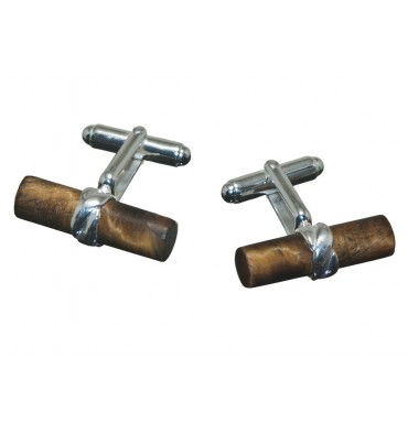 Tigers Eye Grandee Cylinder Swivel Cuff Links-Gold Plated Silver