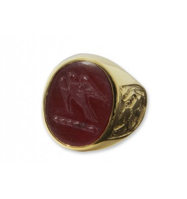 Red Agate Gold Plated sterling Silver Scottish Lion with Hawk Family Crest Ring