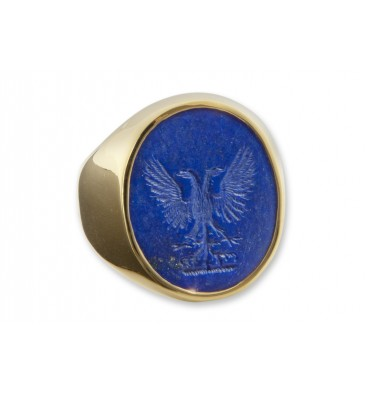 Lapis Eagle Gold Plated Silver Family Crest Signet Ring