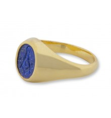 Lapis Gold Plated sterling Silver Engraved Masonic Ring