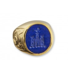 Lapis Lion And Castle with Scottish Lions Gold Plated Sterling Silver Crest Ring