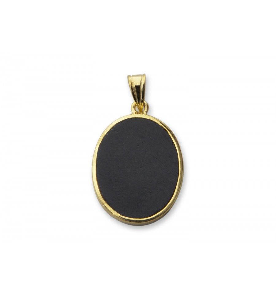 Black Onyx Sculpted Bear Pendant 22x18 Gold Plated Silver