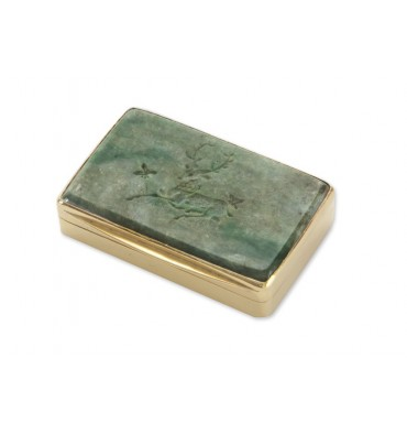 Jade Engraved Snuff Box - Gold Plated Sterling Silver