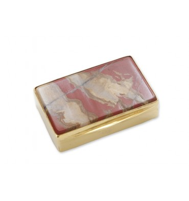 Picture Jasper Snuff Box - Gold Plated Sterling Silver