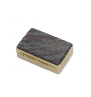 Hawk's Eye Snuff Box - Gold Plated Sterling Silver