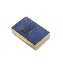 Lapis Lazuli Engraved Snuff Box - Gold Plated Sterling Silver
