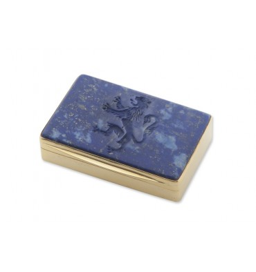 Lapis Engraved Lion Snuff Box - Gold Plated Sterling Silver