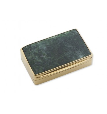 Jade Albite Snuff Box - Gold Plated Sterling Silver