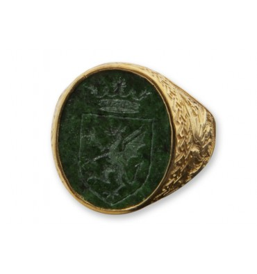 Jade Royal Celtic design Gold Plated Sterling Silver Family Crest Ring