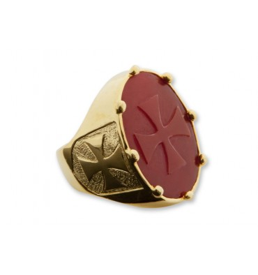 Red Agate Large Gold Plated Sterling Silver Templar Cross Ring