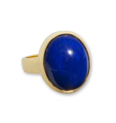 Lapis lazuli Cabachon Gold Plated Silver Ring
