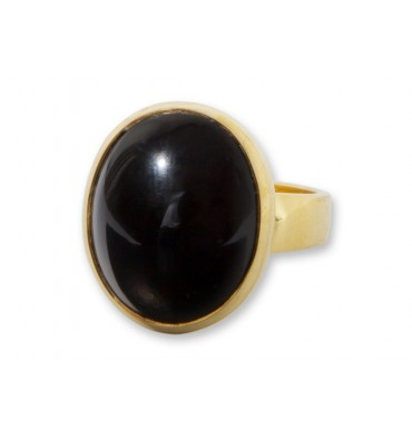 Black Onyx Cabachon Gold Plated Silver Ring