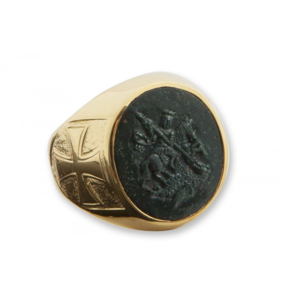 bloodstone st george gold plated sterling silver sculpted