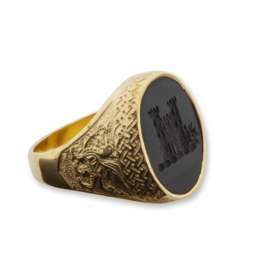Black Onyx Engraved Castle Gold Plated Sterling Silver Celtic Ring