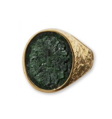 Jade Albite Greenman Gold Plated sterling silver Celtic Ring