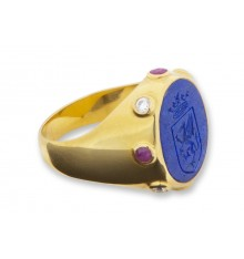 Lapis Celtic Shield With Gems Gold Plated Silver Family Crest Ring