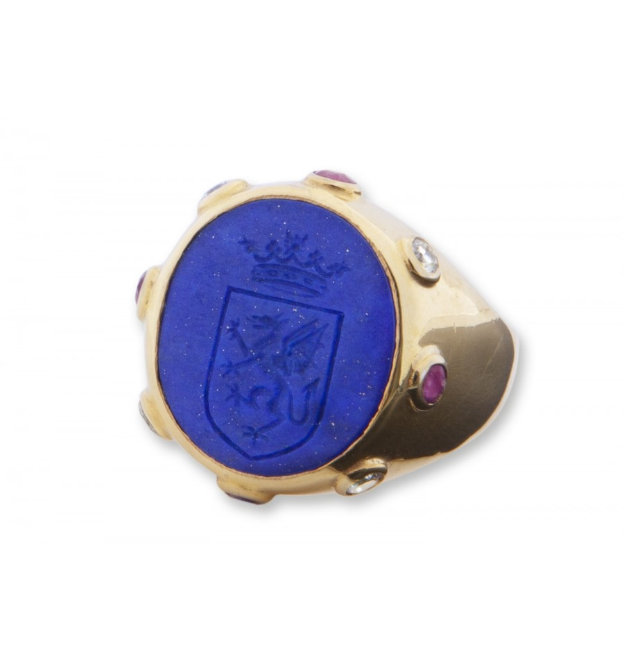 Lapis Celtic Shield With Gems Gold Plated Silver Family
