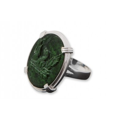 Jade Sculpted Phoenix Sterling Silver Roman Ring