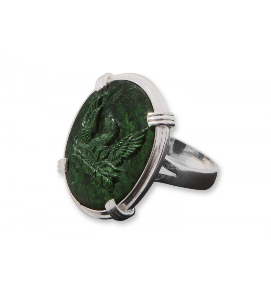 jade sculpted sterling silver ring regnas