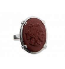 Red Jasper Indian Chief Sculpted Ring - Sterling Silver