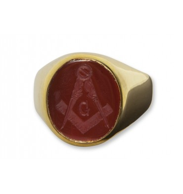 Red Agate Gold Plated sterling Silver Mason's Ring