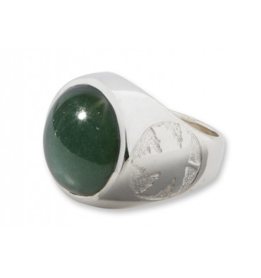 Canada Jade Cabochon Maple Leaf Sterling Silver Round Ring