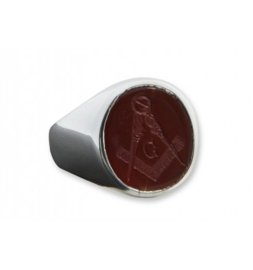 Red Agate Masonic Intaglio Sterling Silver Ring
