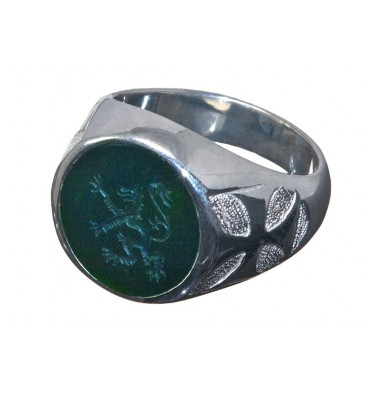 Bloodstone Engraved Lion Rampant Sterling Silver Round Ring