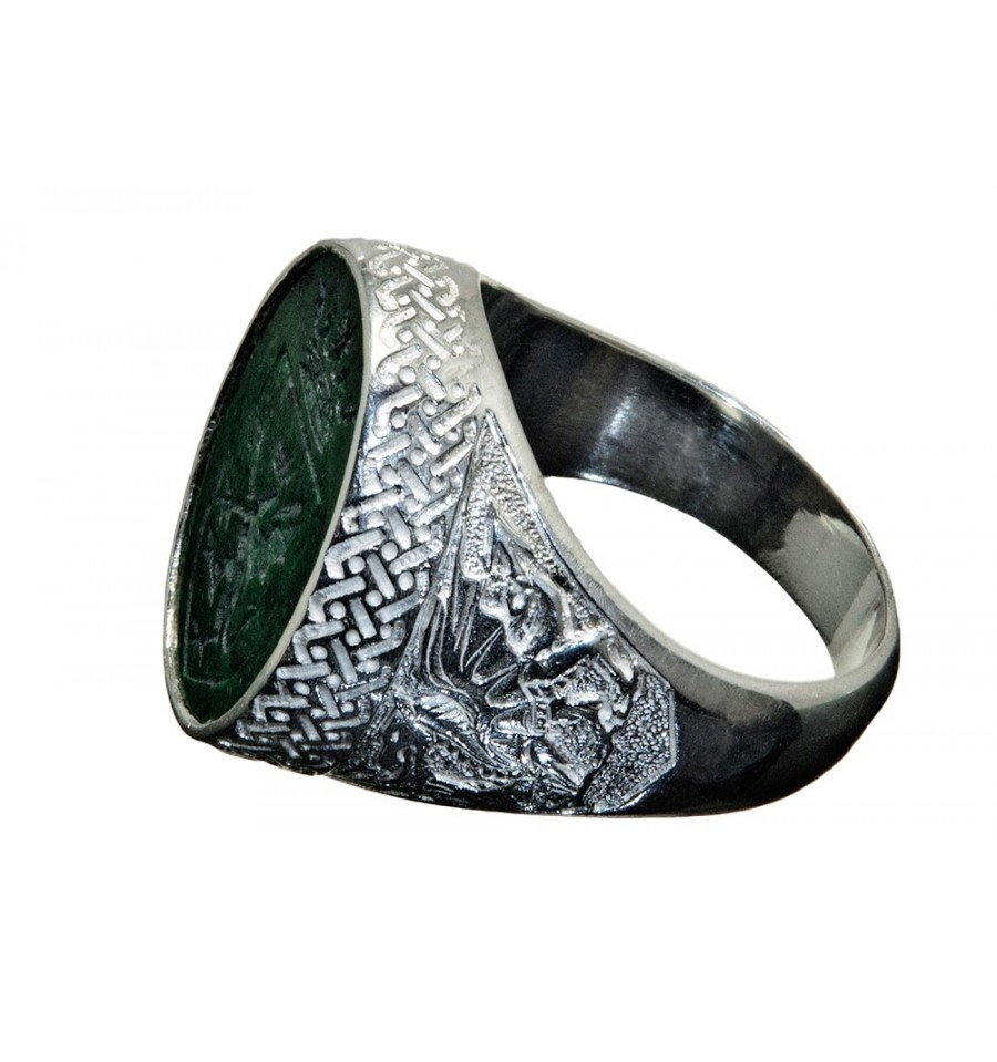 Jade Albite Celtic Shield And Welsh Dragon Sterling Silver