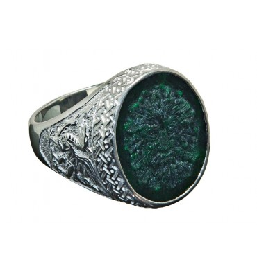 Jade Green Man with Welsh Dragon Sterling Silver Gaelic Ring