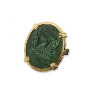 Jade Albite Sculpted Phoenix Gold Plated Sterling Silver Roman Ring