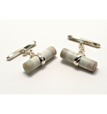 Wood Fossil Silver Cuff Links- Sterling Silver