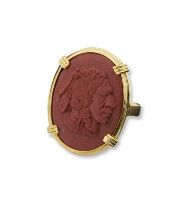 Red Jasper Indian Chief Sculpted Ring - Gold Plated Silver