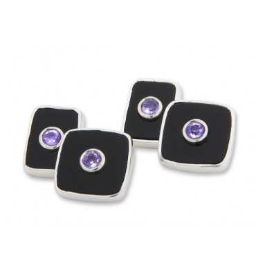 Black Onyx and Amethyst Square Double Cuff Links Sterling Silver