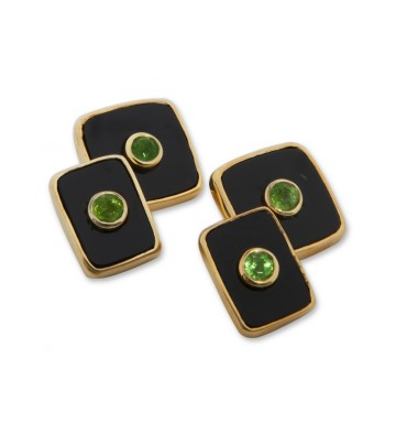 Black Onyx & Emerald Square Double Cufflinks-Gold Plated Silver