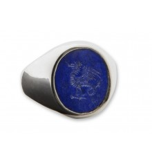 Lapis Cockatrice Engraved Sterling Silver Stone Sealing Ring