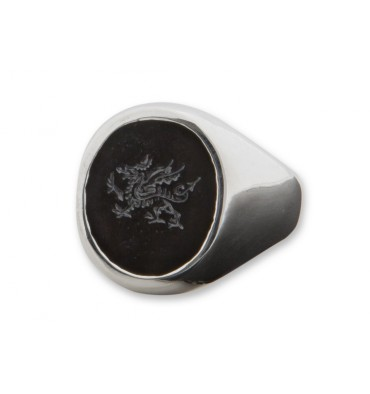 Black Onyx Welsh Dragon Engraved Sterling Silver Stone Sealing Ring