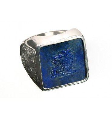 Lapis Square Heraldic Lion with Scottish Lions Sterling Silver Family Crest Ring