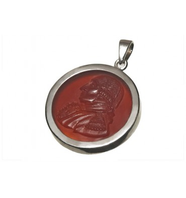 Red Agate George Washington Silver Pendant