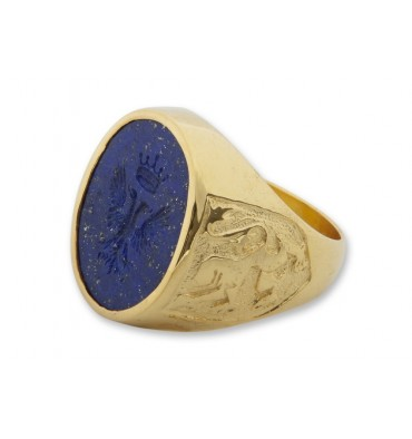 Lapis Eagle with Crown & Scottish Lions Heraldic Gold Plated Sterling Silver Family Crest Ring