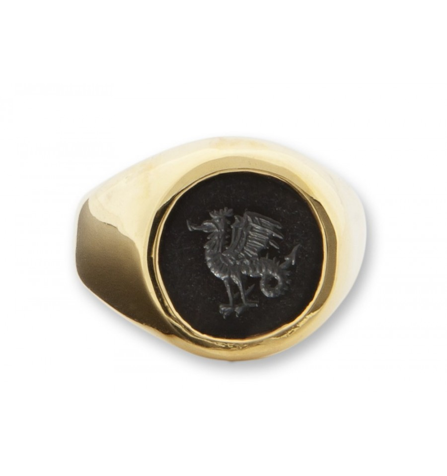 black onyx engraved cockatrice heraldic gold plated silver