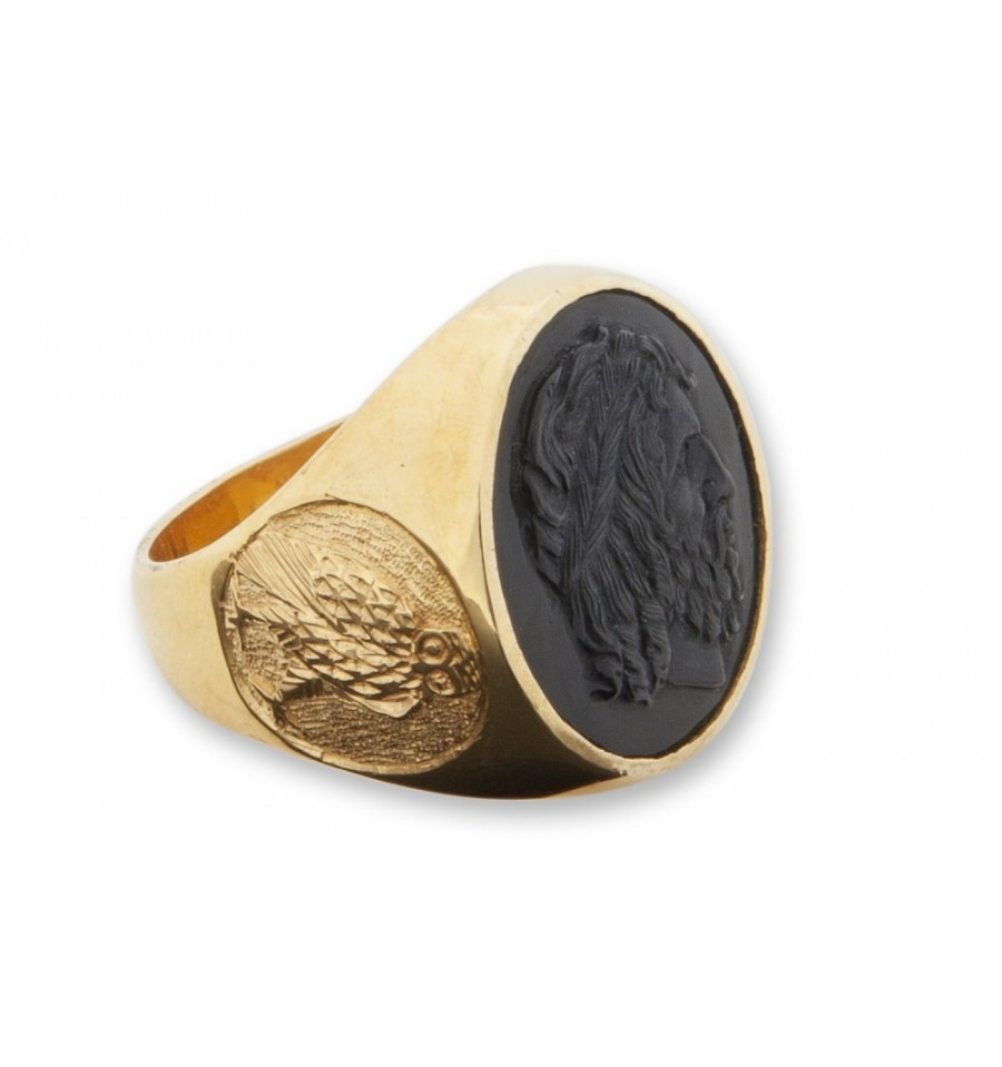 black onyx senator gold plated sterling silver ring