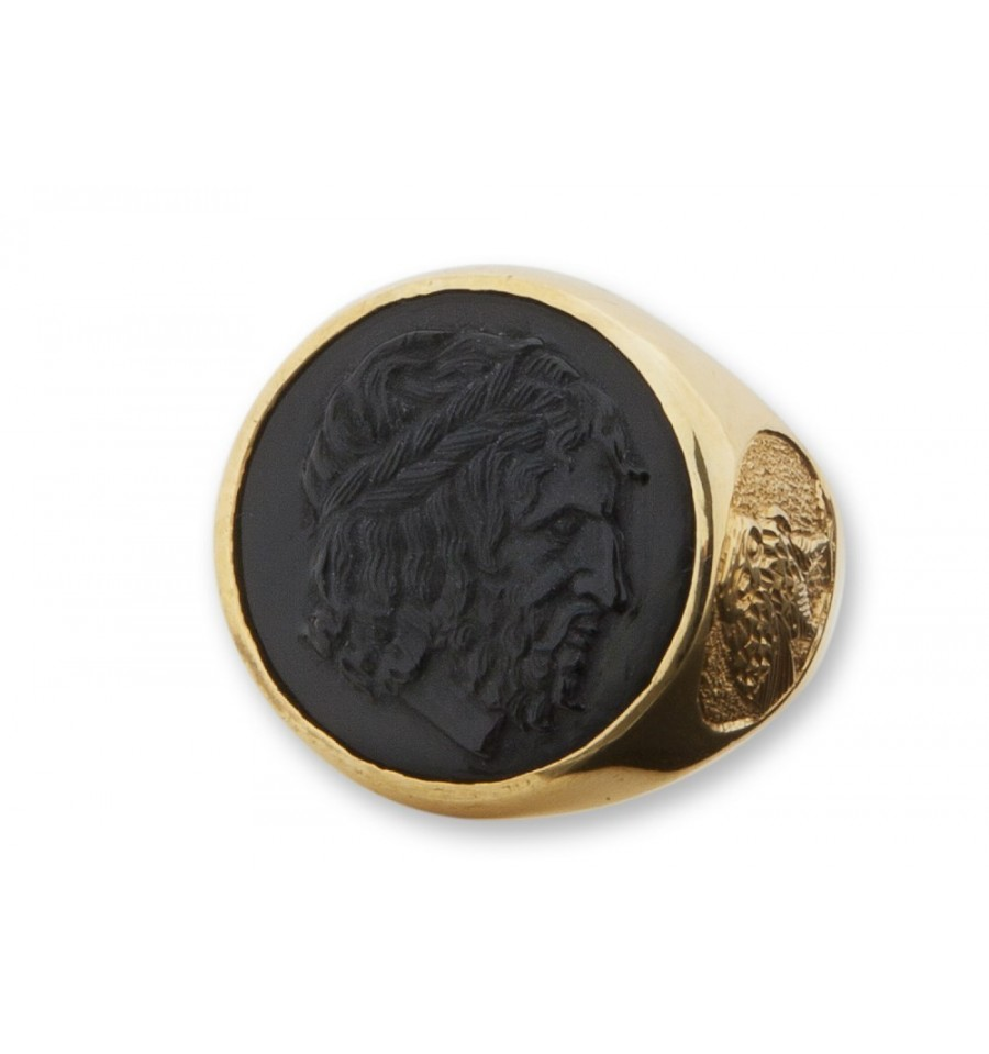 Black Onyx Greek Senator Gold Plated Sterling Silver Ring
