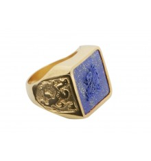 Lapis Salisbury Lion & Scottish Lions Square Family Crest Gold Plated Sterling Silver Heraldic Stone Ring