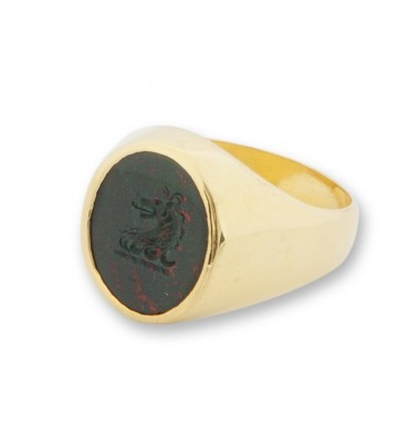 Bloodstone Heraldic Lion Family Crest Gold Plated Silver Stone Signet Ring