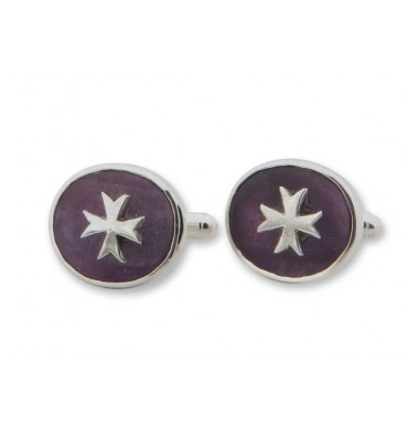 Amethyst Maltese Cross Swivel Sterling Silver Cufflinks