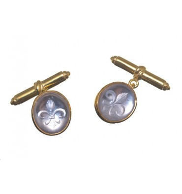 Rock Crystal Fleur-de-lys sub engraved gold plated cuff links