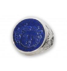 Lapis Lazuli Sculpted Sun Goddess Sterling Silver .925 Ring
