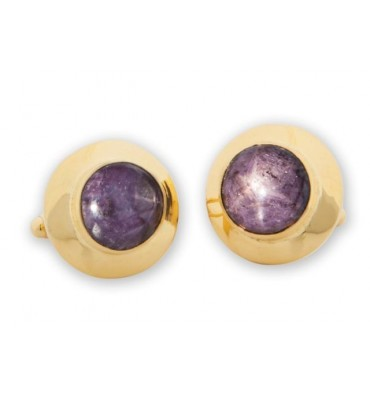 Dark Greyish Purple African Star Ruby Gold Plated Sterling Silver Cufflinks
