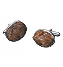Tiger's eye hand craved frog swival cufflinks